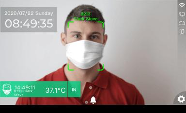 La tecnología de reconocimiento facial identifica a los empleados con un rango de temperatura corporal normal