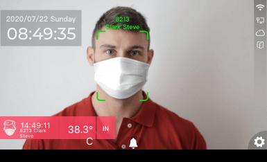 La tecnología de reconocimiento facial identifica a los empleados mientras lee la temperatura corporal anormal